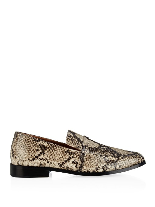 Melanie Snake-Effect Leather Loafers in Tonal-Grey And Black