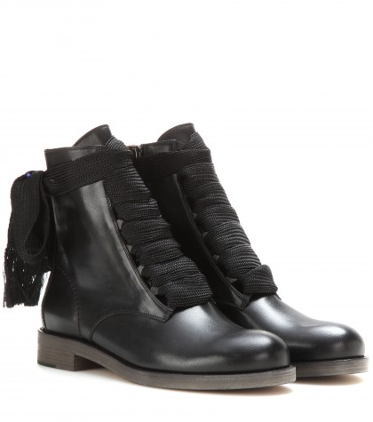 Harper Lace-Up Leather Ankle Boots, Black Leather