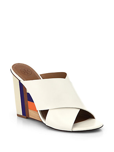 Tory Burch Leather Crossover Wedge Sandals Popular Cheap Online Largest Supplier Discount Discount Collections KH158fbZT