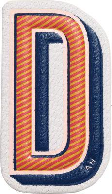 """D"" Leather Sticker For Handbag, Multi Colors, Chalk"