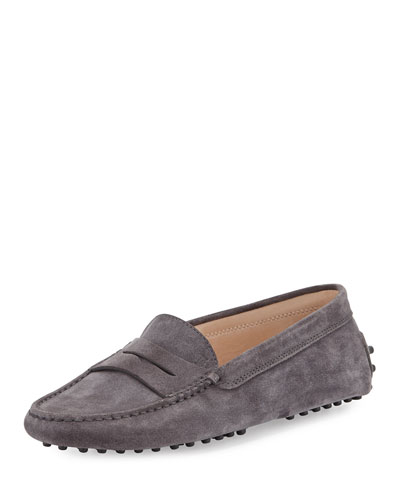 Gommini Suede Penny-Keeper Driver in Grey