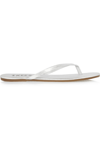 TKEES Lily Metallic Leather Flip Flops in Silver