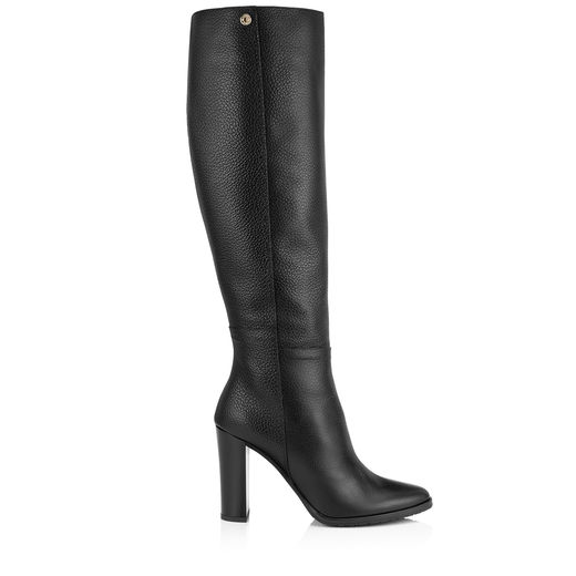 Haywood 95 Black Embossed Grainy Leather Knee High Boots