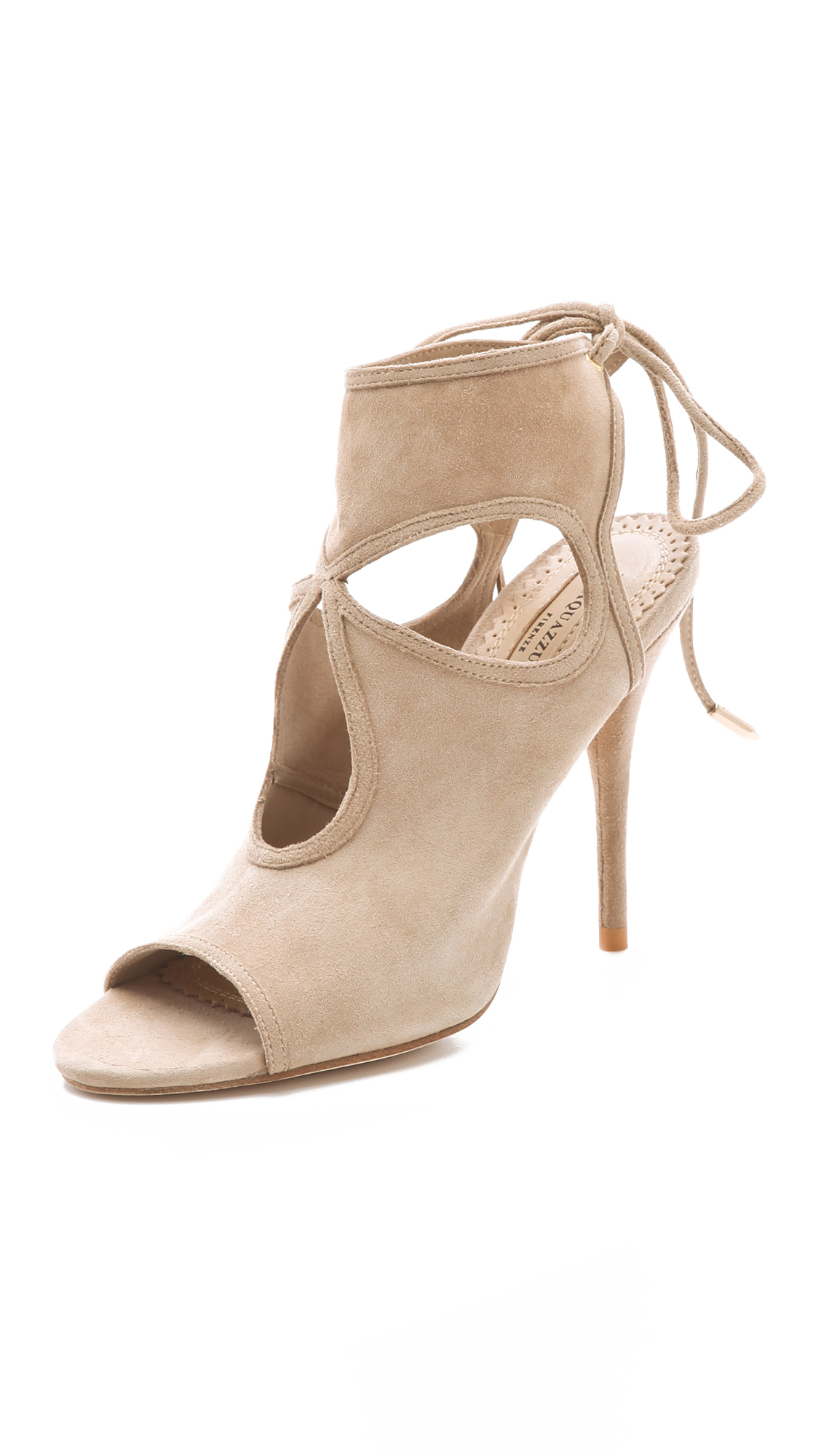 Sexy Thing Suede Cutout Sandals, Nude