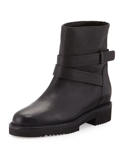 VINCE Cagney Shearling Fur-Lined Leather Moto Boot in Black