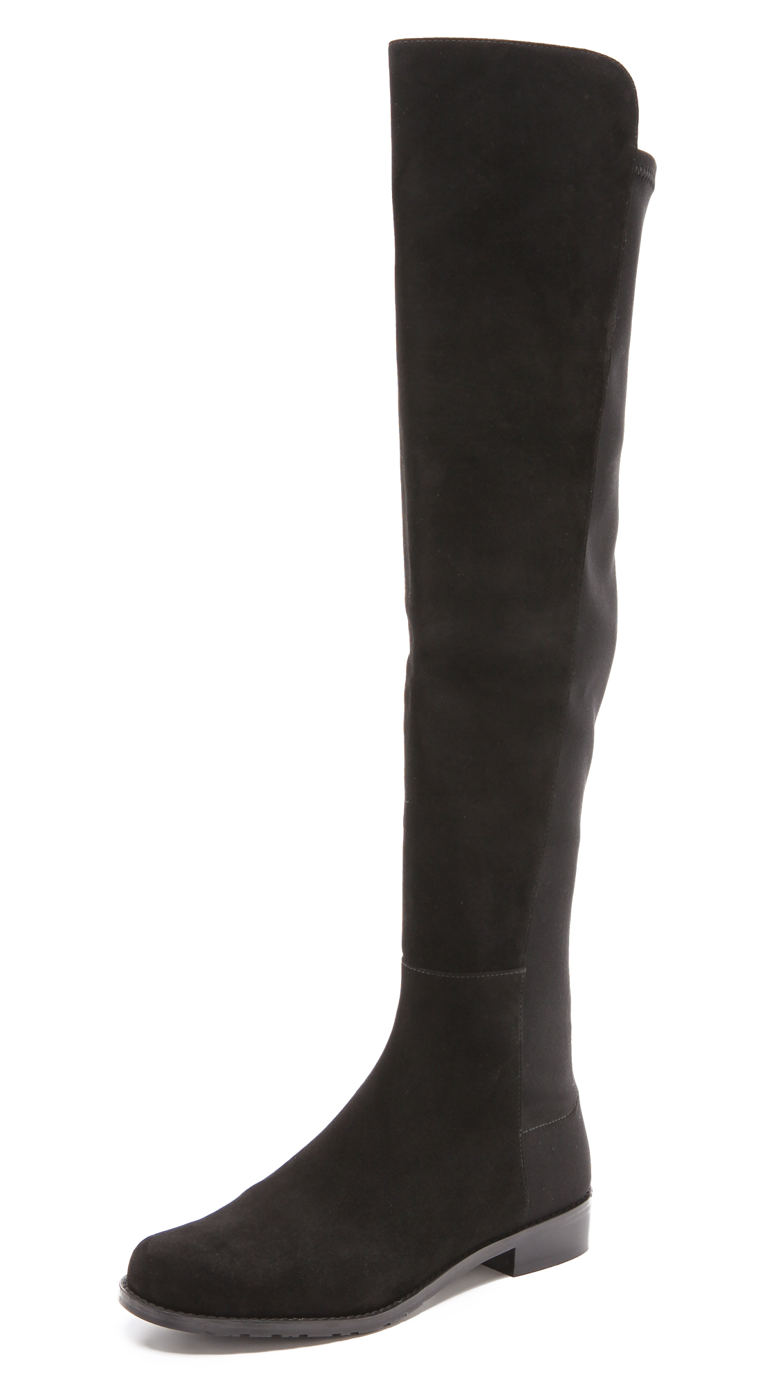 5050 Stretch Suede Boots in Black