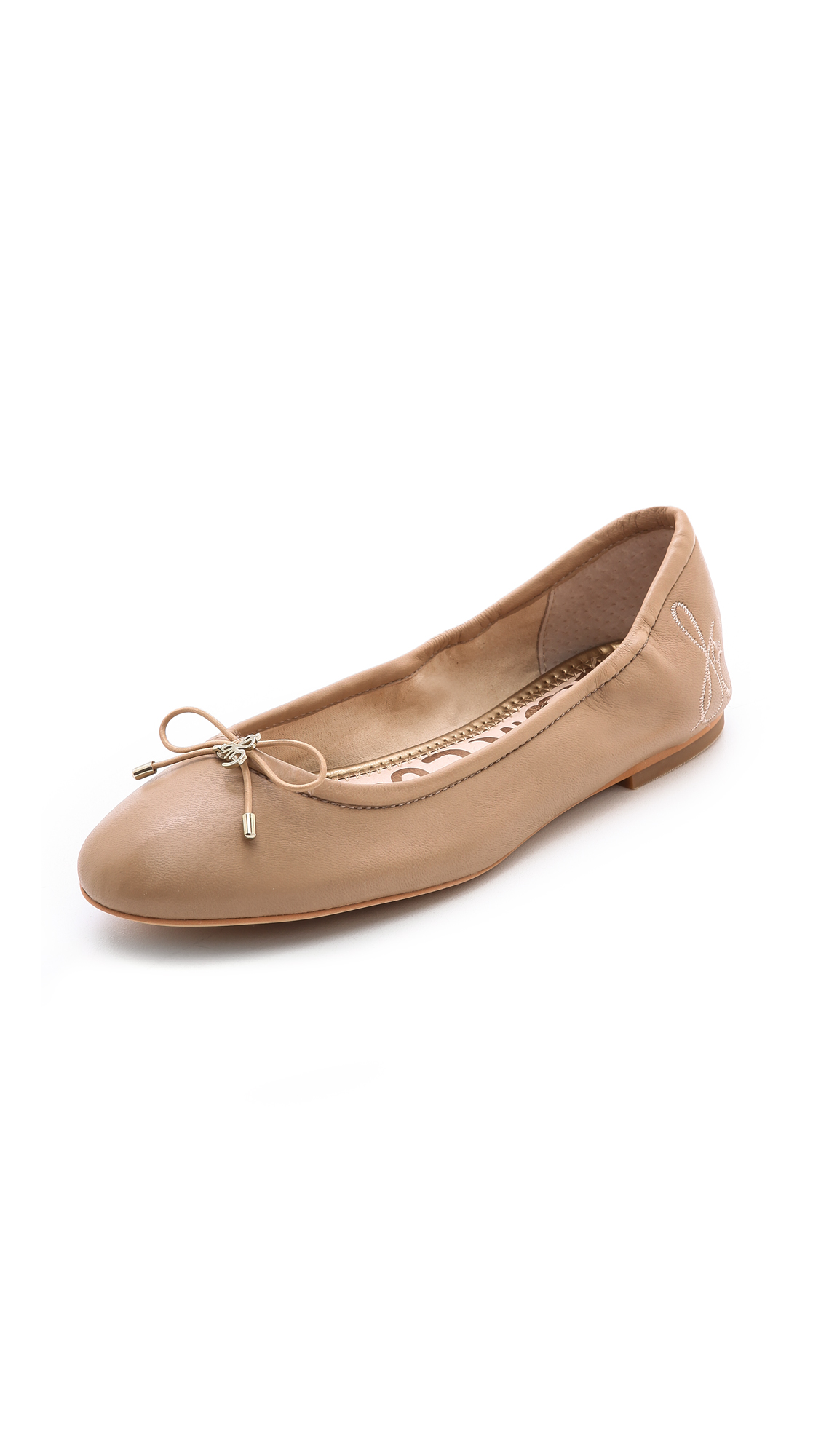 Felicia Bow-Detail Leather Ballet Flats in Classic Nude