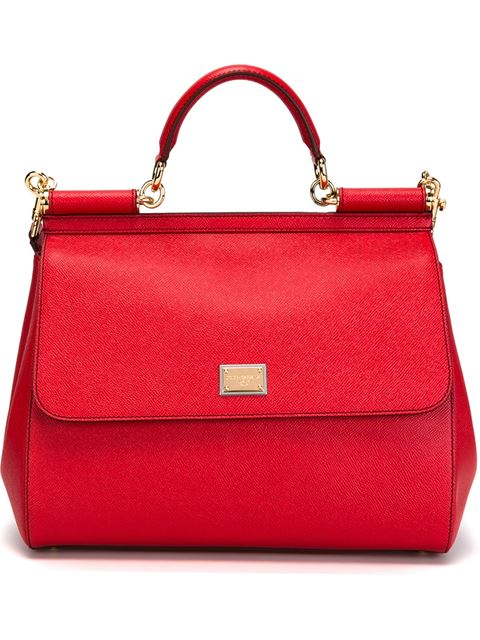 Large Leather Appliqué Handle Sicily Bag in Red