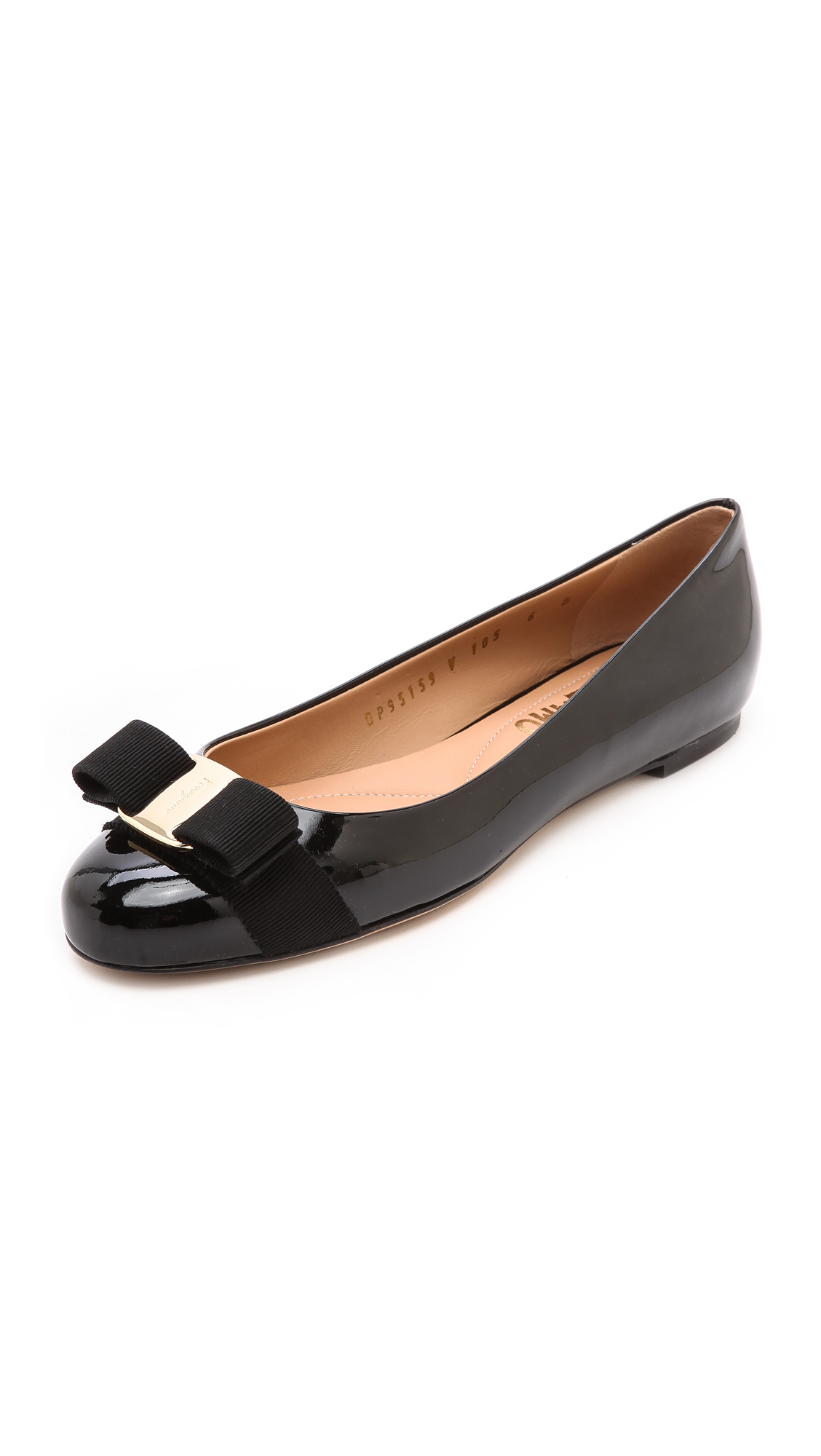 """Varina"" Ballet Flat In Black Patent Leather, Nero"