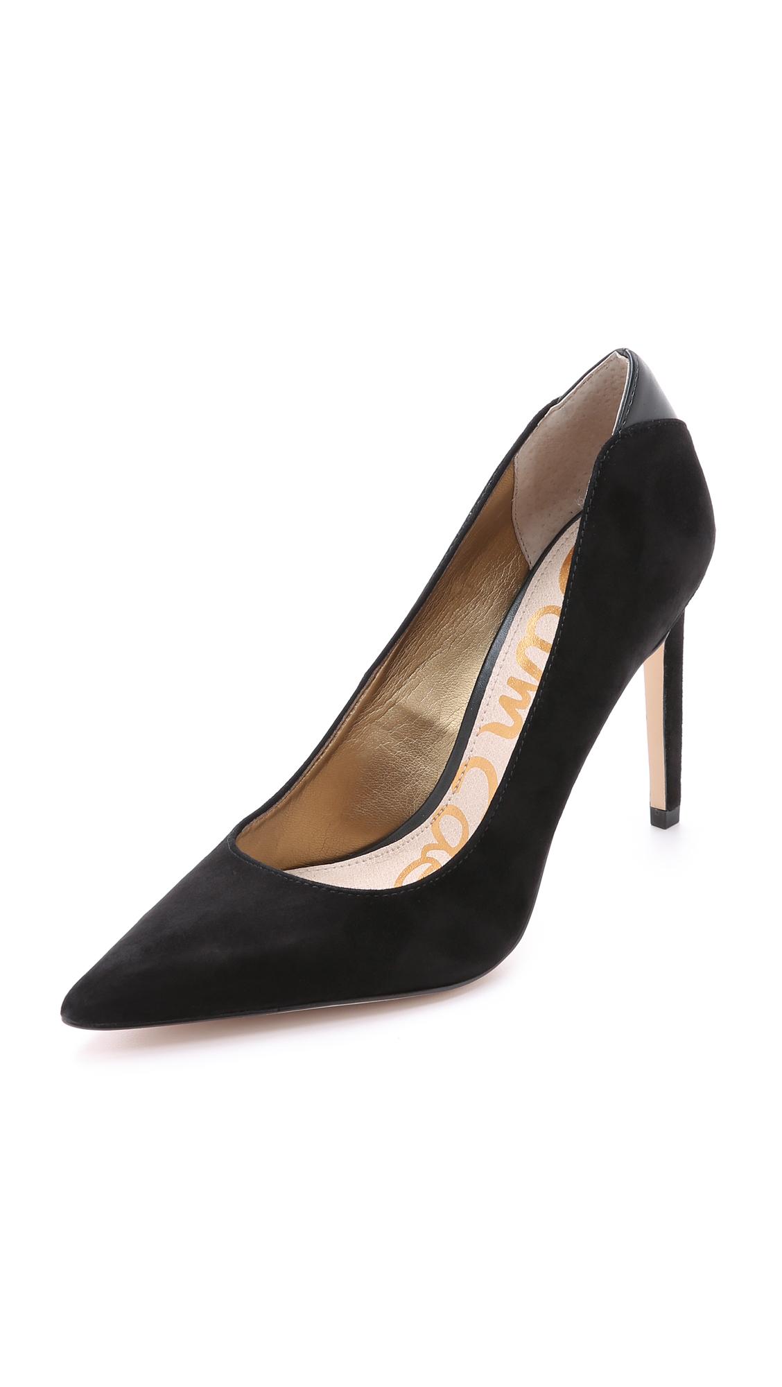 Hazel Pointed-Toe Suede Pump, Black