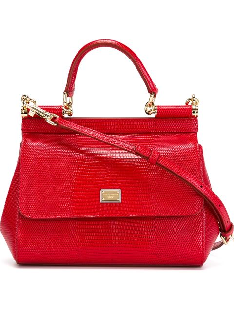 Sicily Medium Textured-Leather Tote, Red
