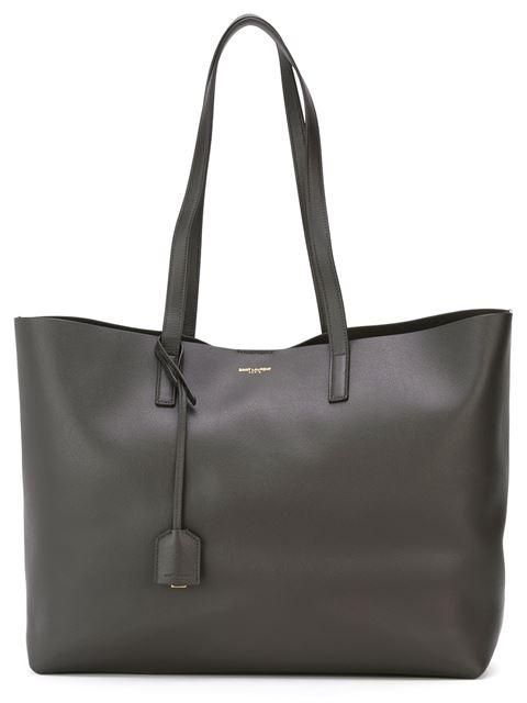 Large East-West Leather Shopper Bag, Grey