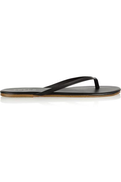 Lily Matte-Leather Flip Flops, Black