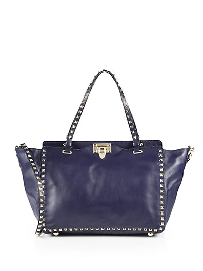 Black Leather Rockstud Rolling Turquoise Stone Tote Bag in Blue