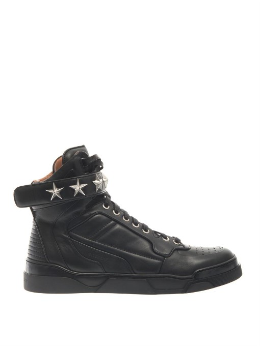 Tyson Stars Leather High Top Sneakers, Black