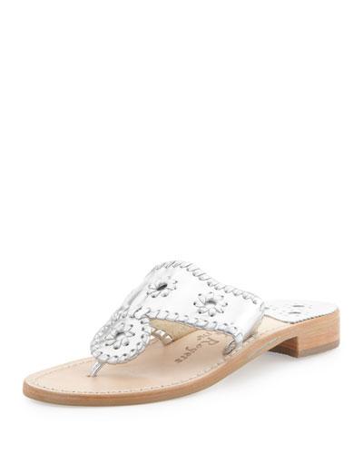 Hamptons Whipstitch Thong Sandal, Silver