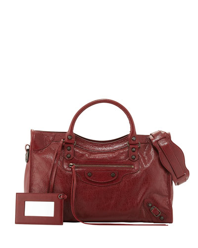 Classic City Lambskin Tote Bag, 4313Bleu L, Red