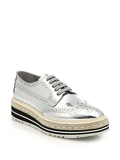 Metallic Leather Platform Brogues - Silver Prada 7vuLd6wu3D