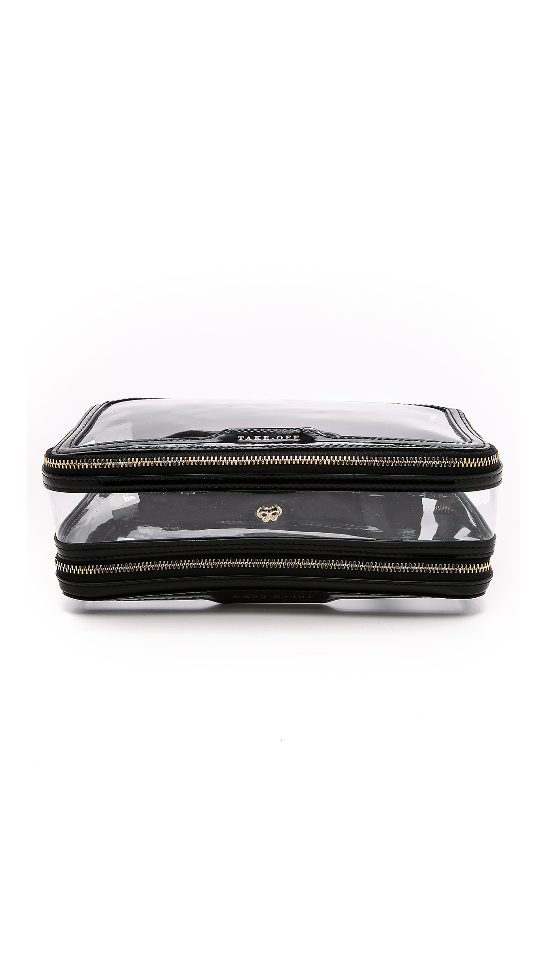 Inflight Leather-Trimmed Perspex Cosmetics Case, Black