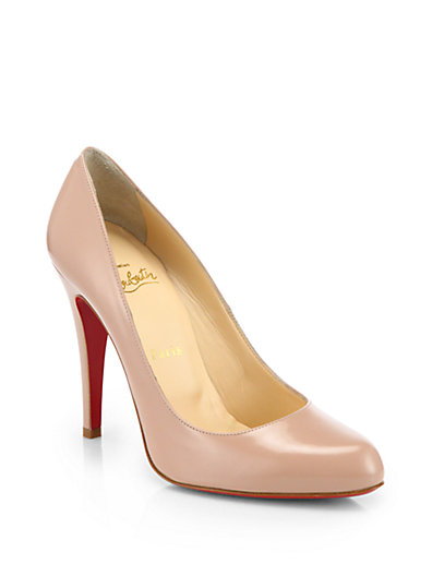 Eloise 85Mm Napa Leather Red Sole Pumps, Nude