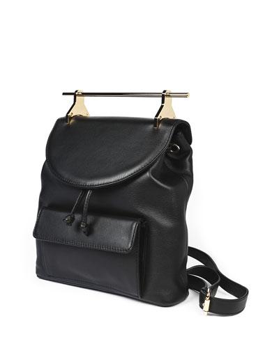 M2MALLETIER Mini Calfskin Leather Backpack - Black