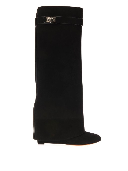 Shark Lock Knee-High Leather Wedge Boots, Black