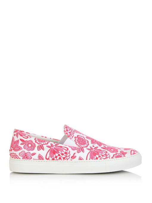 Neon Flower-Print Canvas Trainers, White And Neon Flower-Print