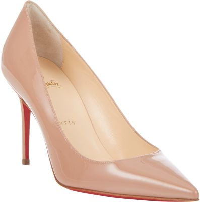 Pigalle Follies Patent Pointed-Toe Red Sole Pump, Nude