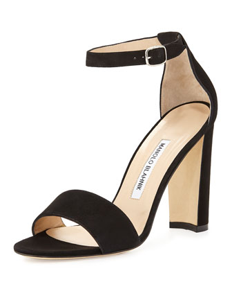 MANOLO BLAHNIK Lauratop Lace & Leather Chunky-Heel Sandal, Black ...