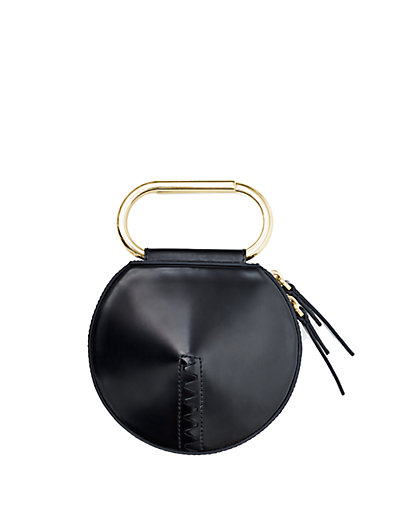 'Alix' Paperclip Handle Leather Circle Clutch in Black;Cardinal