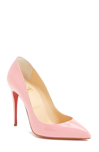 CHRISTIAN LOUBOUTIN Pigalle Follies Patent Point-Toe Red Sole Pump in Rose