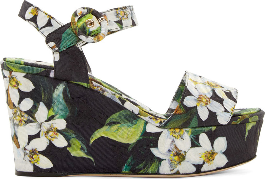 DOLCE & GABBANA Orange Blossom Print Brocade Wedge Sandals in Prieted Flowers