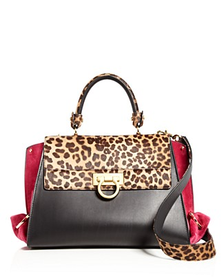 e7c953cae244 SALVATORE FERRAGAMO SOFIA MEDIUM LEOPARD-PRINT CALF HAIR
