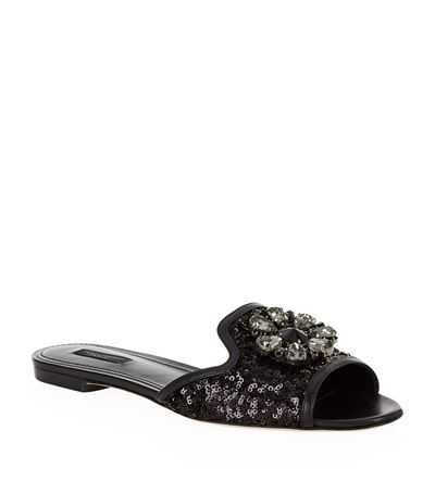 Woman Bianca Crystal-Embellished Corded Lace Slides Black from THE OUTNET.COM
