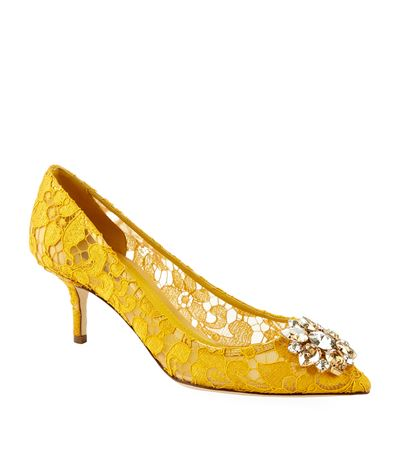 Belluci Crystal-Embellished Lace Pumps in Yellow