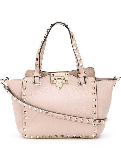 Rockstud Medium Blush Leather Tote in Pink