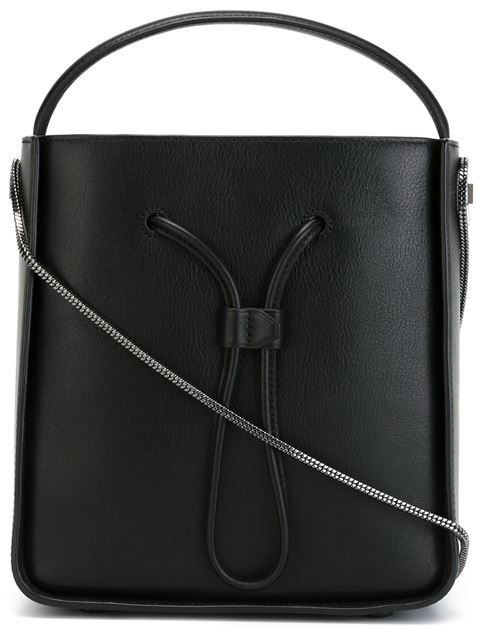 'Soleil' Small Leather Drawstring Bucket Bag in Black