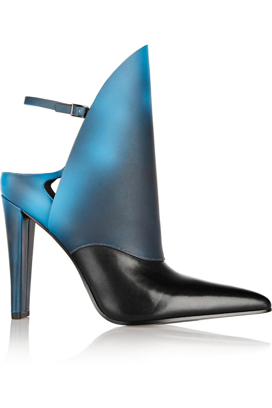 ALEXANDER WANG Lys Heat-Tech Leather Ankle Boots in Blue