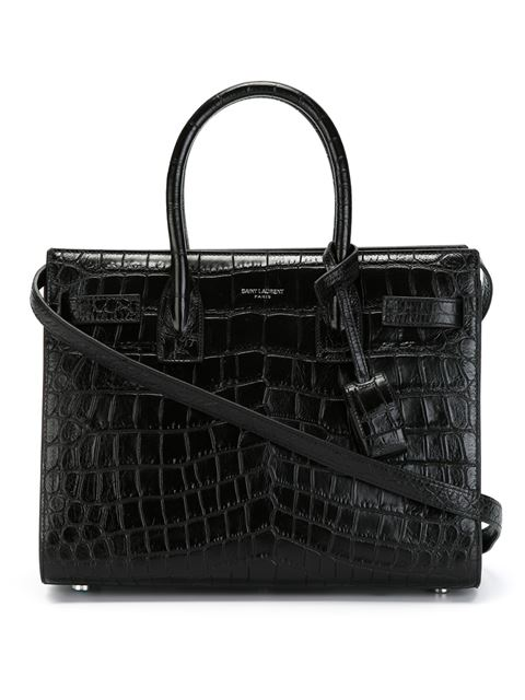Black Croc-Embossed Leather 'Baby Sac De Jour' Convertible Tote
