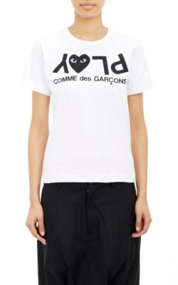 Comme Des Garcons Play Jersey Black Print Tee In White