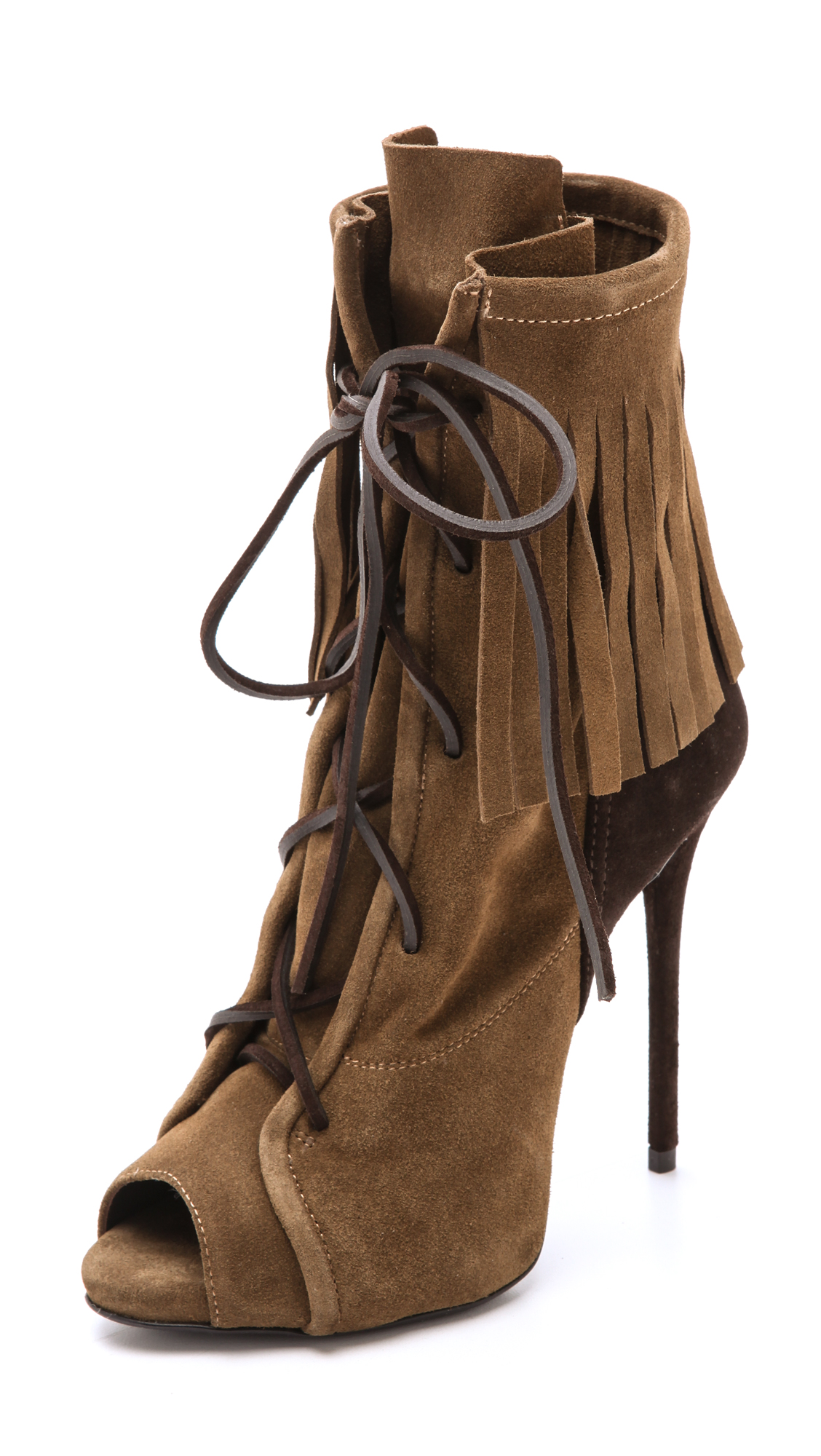 GIUSEPPE ZANOTTI Fringed Suede Ankle Boots in Brown