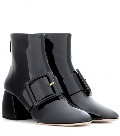 Miu Miu Leather Buckle Ankle Boots