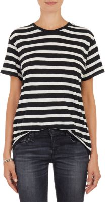 Boy Striped Cotton And Cashmere-Blend T-Shirt, Wht.&Blk.