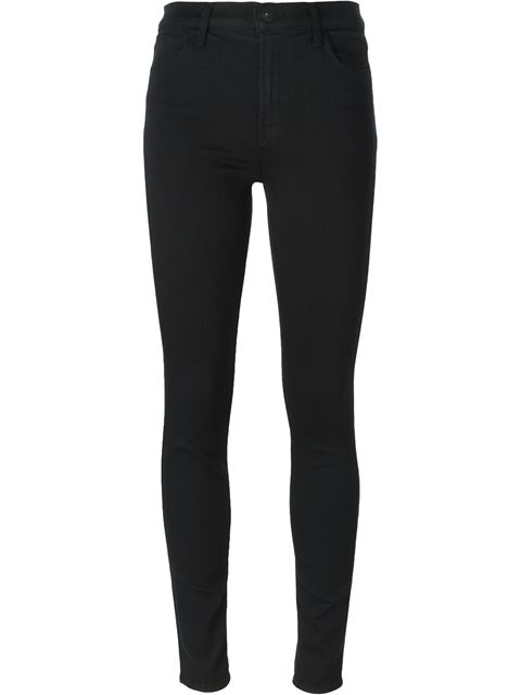 485 Mid-Rise Luxe Sateen Super Skinny Jeans, Black