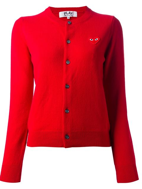 Comme Des Garcons Play Red Heart Patch Cardigan
