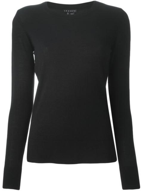 'Mirzi' Rib Knit Merino Wool Sweater, Black