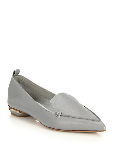 'Beya' Metal Heel Leather Skimmer Loafers in Grey