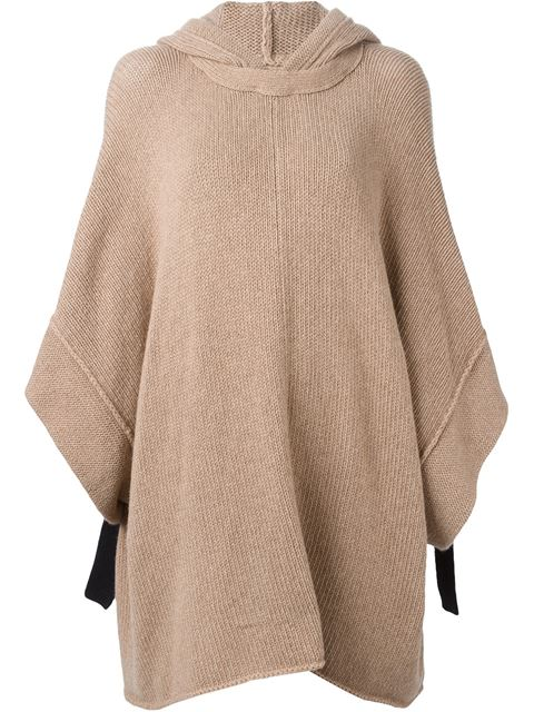Hooded Knitted Poncho in  Camel from OTTE