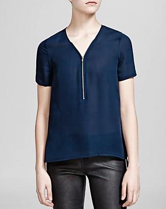 Top - Silk Short Sleeve Zip Front in Navy