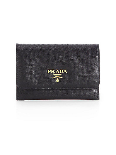 Saffiano Leather Passport Holder And Card Case, Nero-Black